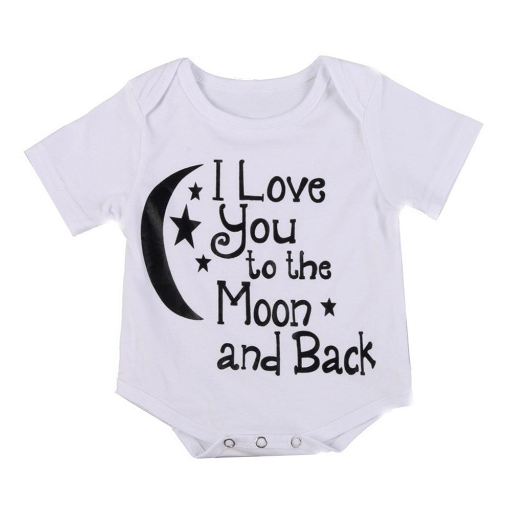 Baby Unisex Short Sleeve Star Moon Pattern Jumpsuit Soft Cotton Rompers Summer Clothes in Bodysuits from Mother Kids