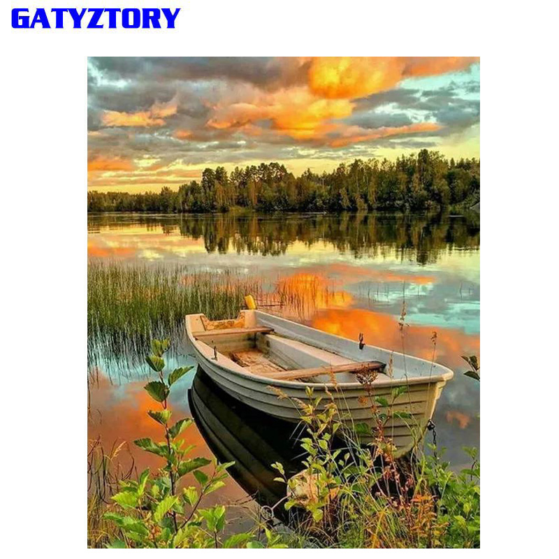 GATYZTORY Frame DIY Painting By Number Kit Boat Lake Landscape Modern Wall Art Picture Handpainted Oil Painting For Home Decor
