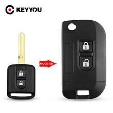 KEYYOU Modified Key Shell New Flip Car Key Shell For Nissan Qashqai Primera Micra Navara Almera Note Sunny 2 Buttons