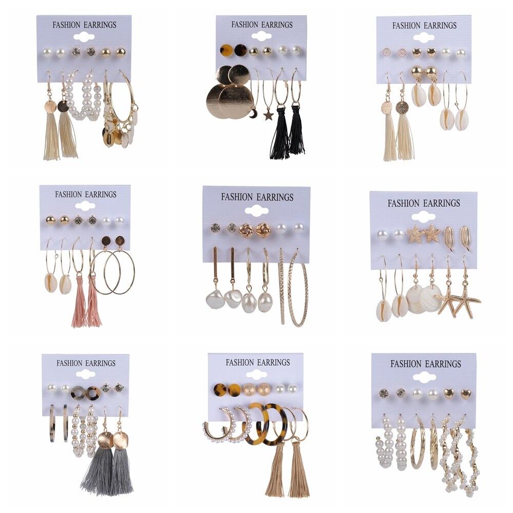 Crystal Acrylic Pearl Tassel Earrings Set Fashion Jewelry Geometry Leopard Shell Drop Dangle Stud Earrings For Women