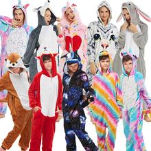 Kigurumi jednorożec piżamy dla chłopców dziewcząt kobiet mężczyzn komplet piżamy Onesie dorosłych zwierząt Panda Stitch piżamy Cosplay piżamy dzieci tanie tanio sumioon Poliester Cartoon unicorn pajamas Flanelowe Unisex Pasuje prawda na wymiar weź swój normalny rozmiar pijama unicornio