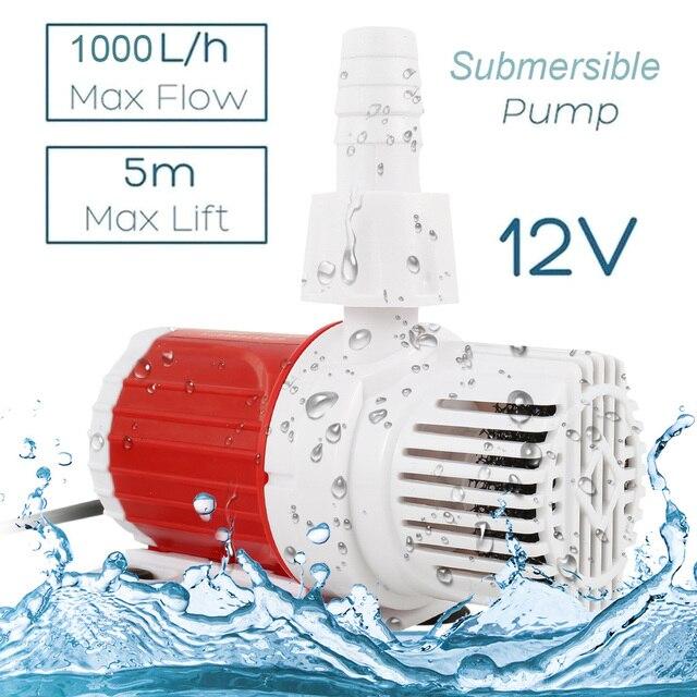 1000L/H Multifunctional Aquarium DC 12V 24V Solar Brushless Motor Circulation Water Submersibles Pump  2