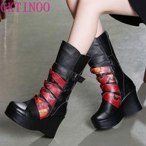 Image 1 - GKTINOO Botas de piel auténtica para mujer, zapatos cálidos de media caña, informales, con cuña, botas de moto para mujer