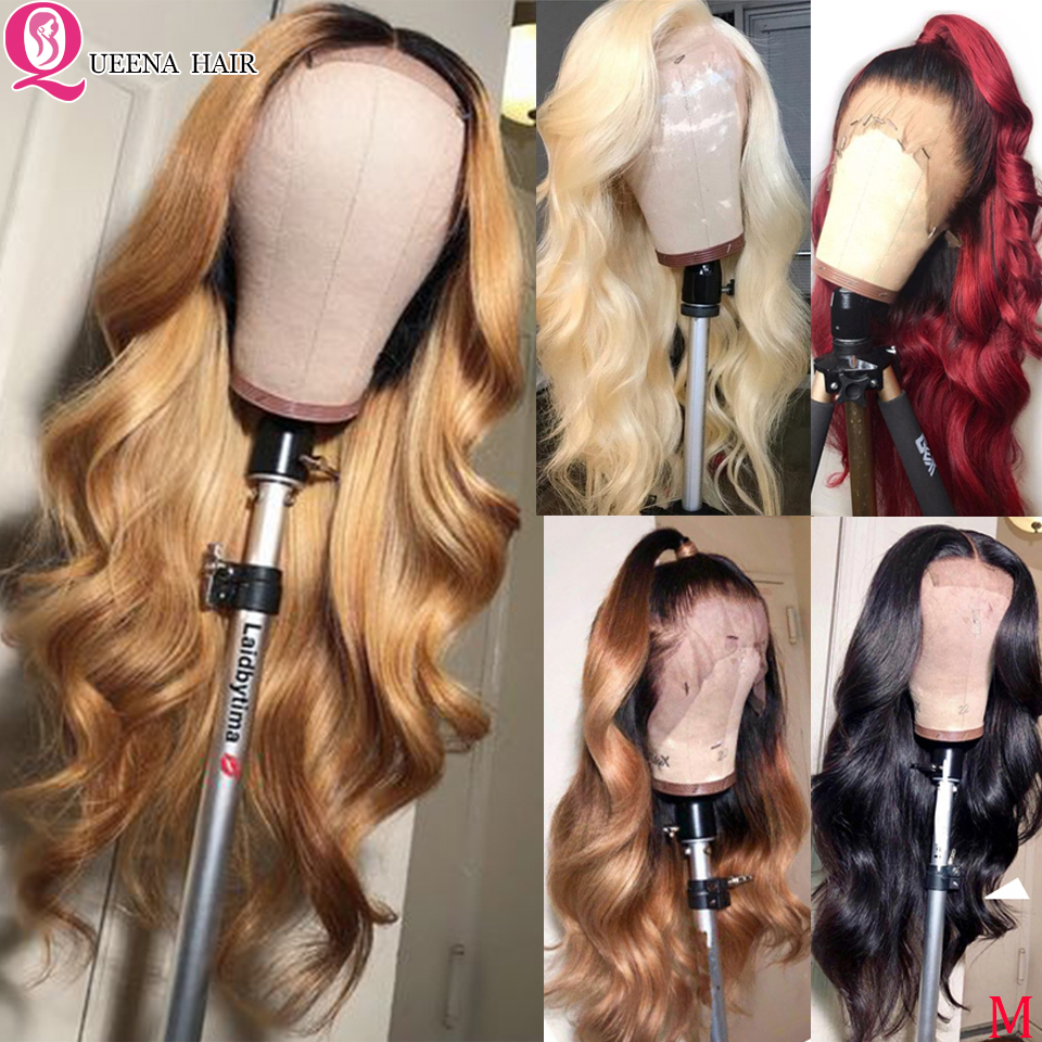 Blonde Colored Body Wave Front Lace Wigs Peruvian Ombre Black Burgundy Lace Front Human Hair Wig 13x4 Natural Hairline Remy 150%