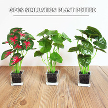 Newly 3PCS Cafe Lifelike Home Decoration Glass Pots Mini Artificial Plant Office XSD88
