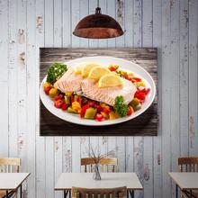 50x70cm Lemon Salmon With Chili Wall Decoration Painting Home Background Wall Kitchen Dining Room Decor Painting