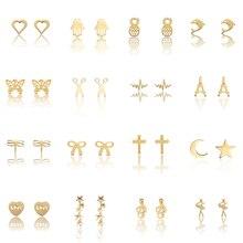 2019 Hot Mini Earrings Cute Korean Style Japanese Retro Love Metal Stars Geometric Stud For Winter Girl Jewelry Gift
