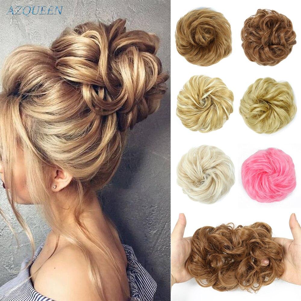Синтетические волосы булочка шиньон дамы конский хвост, для увеличения волос, обтянутая тканью; Упругая волна кудрявые шиньоны резинка для ...