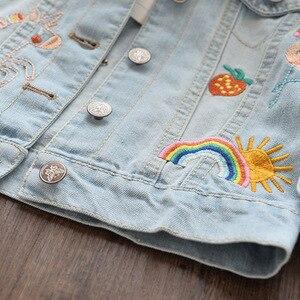 Image 3 - Jednorożec kurtka dżinsowa dla dziewczynki dzieci jesień wiosna dziewczynek haftowana kurtka dżinsowa 3 ~ 12 lat dziewczyny odzież wierzchnia
