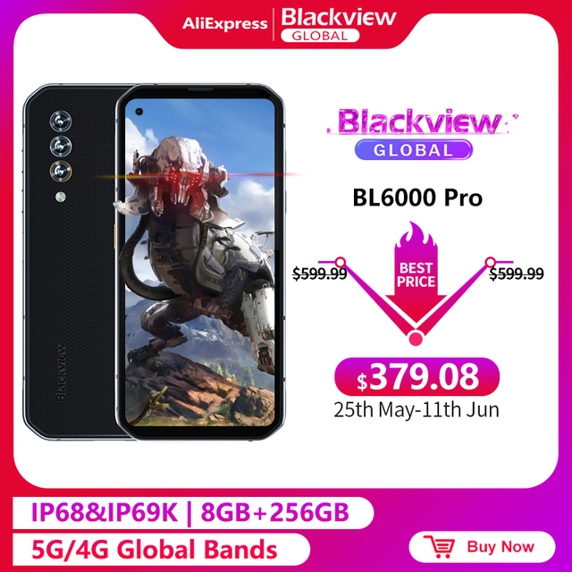 Blackview BL6000 Pro IP68 Waterproof 8GB+256GB 5G Smartphone 48MP Triple Camera 6.36'' Android 10.0 Global Bands 5G Mobile Phone 1
