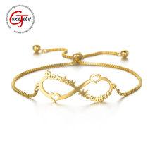 Goxijite nazwa własna regulowana rozciągliwa bransoletka dla kobiet spersonalizowane litery arabskie bransoletki nieskończoności Box Chain biżuteria prezent