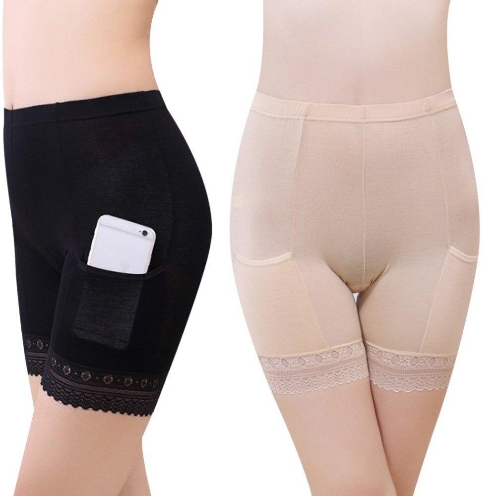 2019 Boxer Femme Women Soft Cotton Lace Seamless Safety Shorts Pants Summer Under Skirt Shorts Modal With Pockets Short Feminino