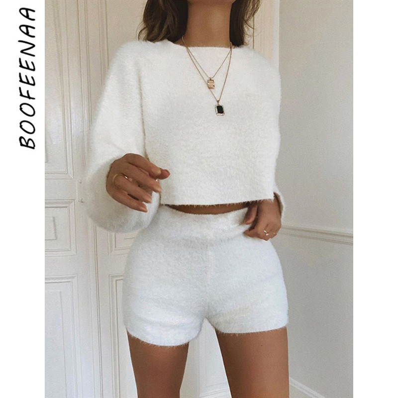 BOOFEENAA Fall Winter 2 Pieces Set For Women Fuzzy Knitted Sweater Matching Sets Tracksuit Sexy Club Outfits Loungewear C83-AC59
