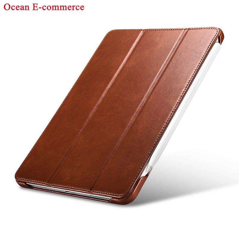 Brown Brown Original ICARER Luxury Genuine Leather Case For Apple iPad Pro 11 2020 Vintage Protective Magnet Smart