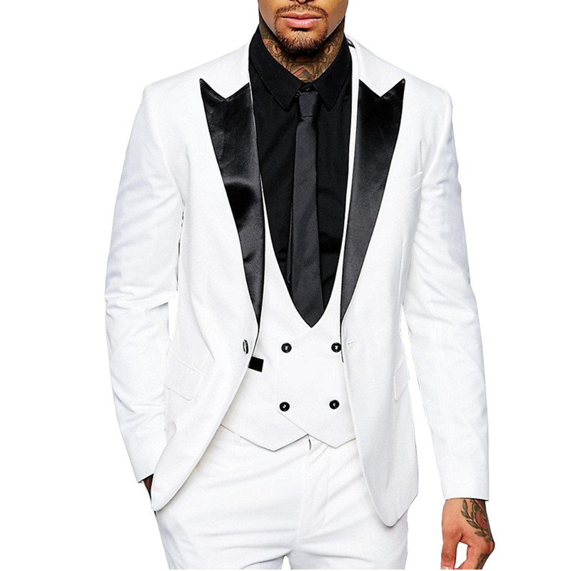 Men Suit Slim Fit Casual Formal Three Pieces Business Groomsmen Grey White Champagne Lapel Tuxedos For Wedding Blazer+Pants+Vest