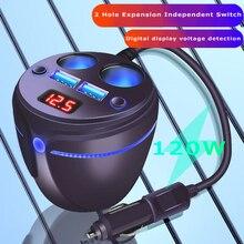 URANT Multifunctional 2 USB Car Charger Cup Holder Display Car Charger Cigarette Lighter Splitter With Voltage Display