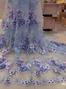 Image 1 - Luxury \ Hand applied 3D flower Embroidery French Mesh African Lace Fabric High end Dress, Wedding Dress, Evening Dress Design