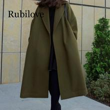 Rubilove Women Solid Long Coat Cotton Overcoat Loose Winter Autumn Outwear Trench Coats