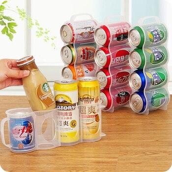 Caja de almacenaje para nevera de cocina, accesorios de cocina, lata de bebida de Cola, ahorro de espacio, organizador de cuatro cajas, envío gratuito