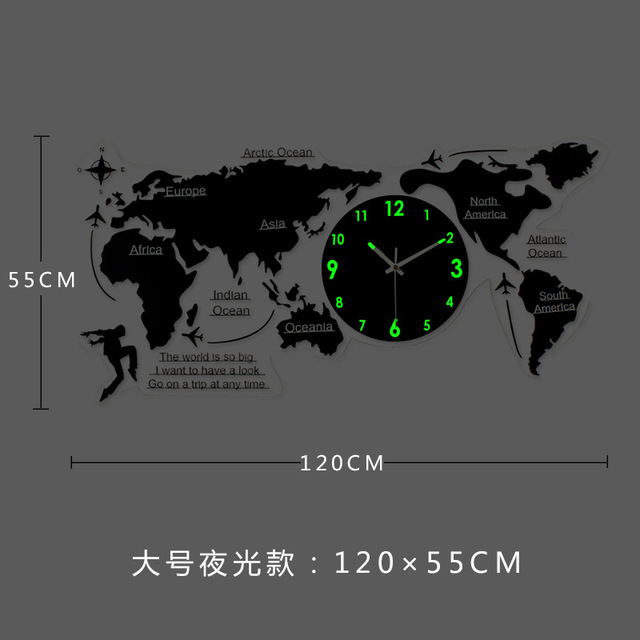 Modern Large Metal World Map Wall Clock with LED Lgiht Luminous Wall Decorations Living Room 3d