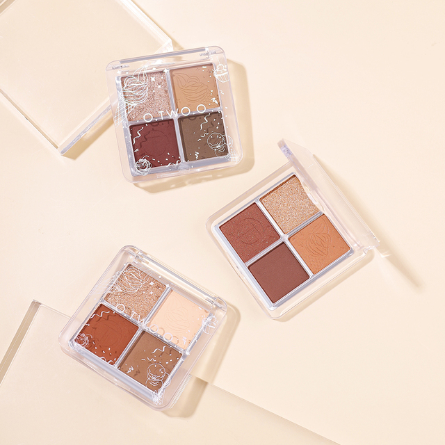 O.TWO.O 4 Color Eyeshadow Palette Peach Waterproof Long Lasting Shimmer  Matte Eye shadow Soft Smooth Shadow Primer Makeup 5