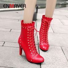 ENMAYER Rivet Boots for Women Round Toe Thin Heels PU Motorcycle Super High Solid Fleeces Winter  White Red