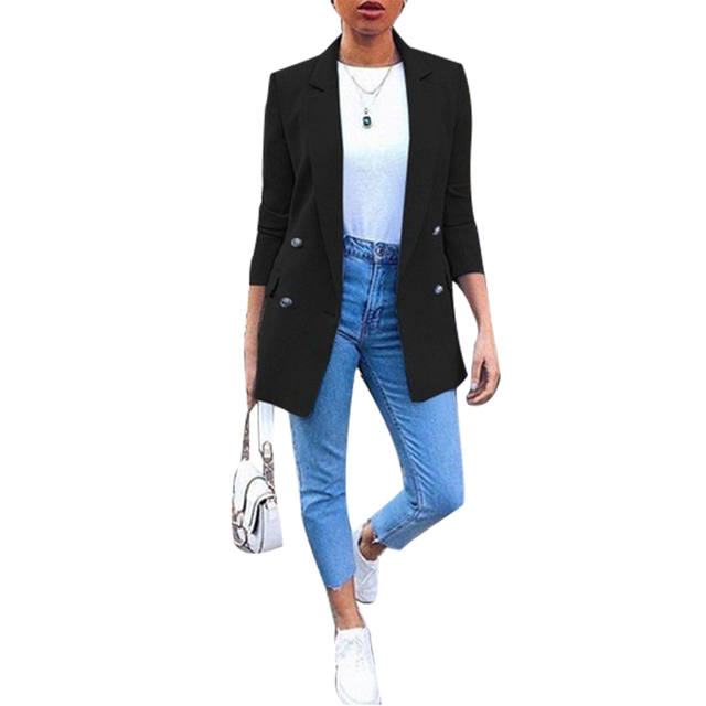 Ladies Solid Turn Collar Plus Size Autumn Fashion Office Lady Solid Color Blazer Long Sleeve Suit Jacket Chic