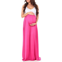 Fashion influx new European and American women's solid color round neck sleeveless stitching big swing pregnant women dress long