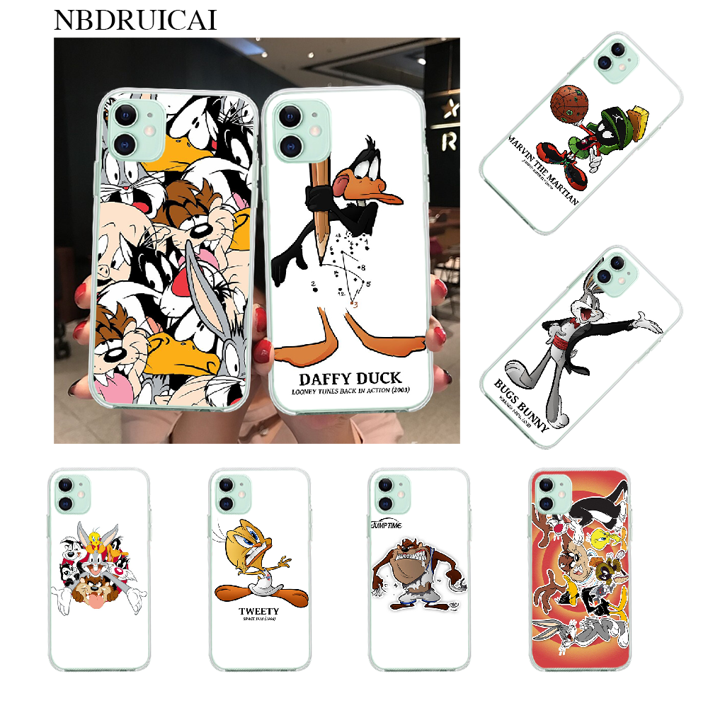 Nbdruicai Bug Kelinci Tweetybird Bebek Daffy Looney Tunes Coque Phone Case untuk iPhone 11 Pro XS MAX 8 7 6 6S Plus X 5S SE XR Cover