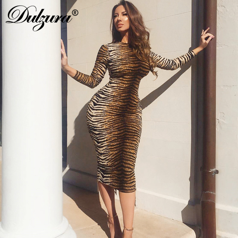 Dulzura 2019 Autumn Winter Women Midi Dress Party Bodycon Festival Tiger Leopard Animal Print Sexy Plus Size Office Clothes