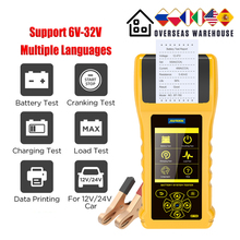 AUTOOL BT760 Car Battery Tester with Thermal Printer 12v 24V 36V Battery Cranking  Charging  Max Load Test Diagnostic Tool