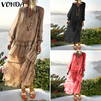 Beach Women Maxi Dress 2020 VONDA Bohemian Summer Sundress Lace Vestido Transparent Casual Loose Vintage Layered Dress Plus Size vonda women dress vintage o neck long sleeve bohemian mini dress 2020 summer beach sundress casual loose vestidos plus size