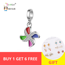 StrollGirl 925 Sterling Silver Windmill Charm Lovely Style Pendant Fashion Jewelry Gift For Girl Free Shipping New Arrival