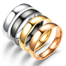 Classic male Real white Gold Color 6mm Titanium Steel Women Men Wedding Ring Top Quality Do not fade Lovers Wedding Jewelry(China)