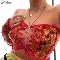 Nibber Vintage Tie Dye Off Schulter Streetwear Weibliche Sexy Aushöhlen Quaste Stricken Y2k Top Crop Tops 2020 Herbst Club dünne Kleidung