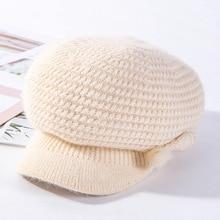 Winter Beret Hats For Women Girlss Rabbit. Soft Solod Color Kitted Warm Octagonal Caps Girls Flat