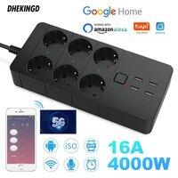 Smart Wifi Power Strip 4/6 EU 4USB prese spina 2.4G/5.0G porta di ricarica temporizzazione controllo Bluetooth con Alexa google home Assistant