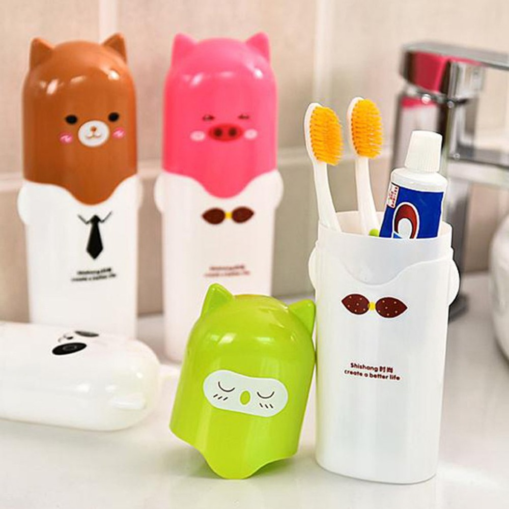 Lovely Cute Cartoon Design Toothbrush Cover Holder Portable Outdoor Travel Hiking Camping Toothbrush Case Travel Accessories image