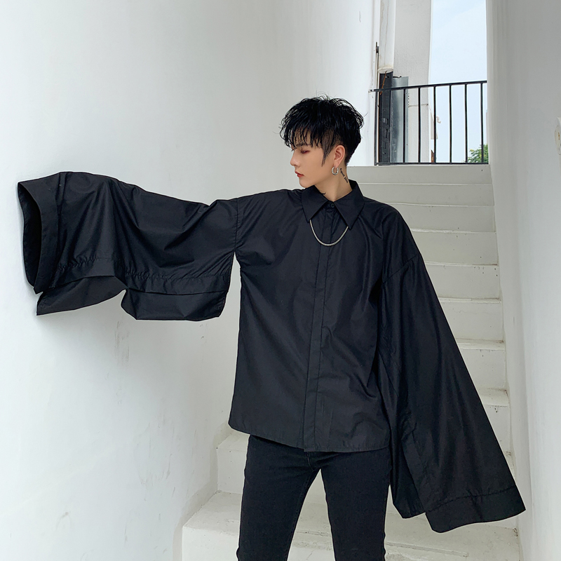 Men Wide Long Sleeve Black White Shirt Male Japan Style Gothic Sleeve Stage Fashion Show Clothing