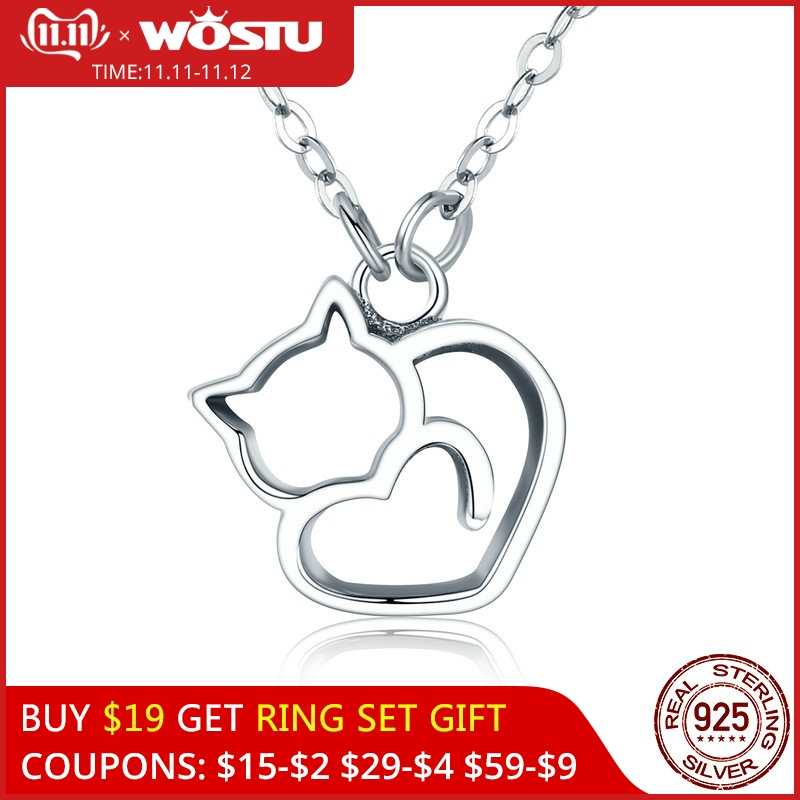 WOSTU Hot Fashion 100% 925 Sterling Silver Lovely Cat Exquisite Women Pendant Necklace Luxury S925 Silver Jewelry Gift CQN188