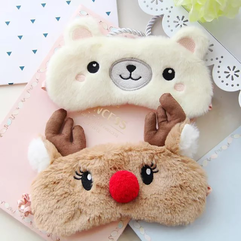 Cute Animal Sleep Eye Mask Plush Eye Cover Kids Sleeping Mask Winter Cartoon Travel Rest Eye Band Blindfolds Sleep Aid Eyepatch