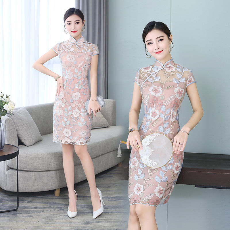 Lao Gu Dai Improved Lace Cheongsam In Short 2019 Spring And Summer New Style Fashion Women's Daily Life Chinese Style Dress
