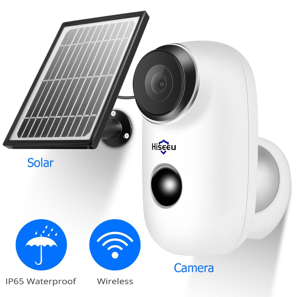 Hiseeu 1080P Wireless Rechargeable Battery IP Camera With Solar Panel Outdoor Weatherproof Home Security Camera Wifi PIR Motion