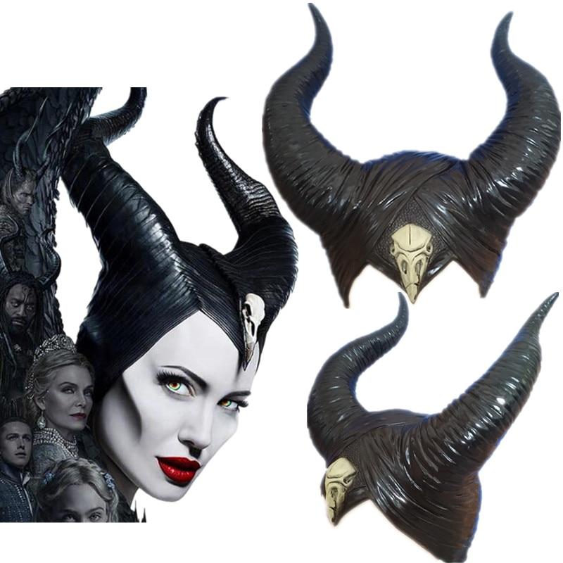 Halloween Cosplay Maleficent: Mistress Of Evil Witch Horns Headwear Mask Headgear Helmet Party Black Queen