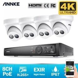 ANNKE 8CH 4K Ultra HD POE сетевая система видеонаблюдения 8MP H.265 + NVR с 4 шт. 8MP Всепогодная ip-камера CCTV комплект безопасности