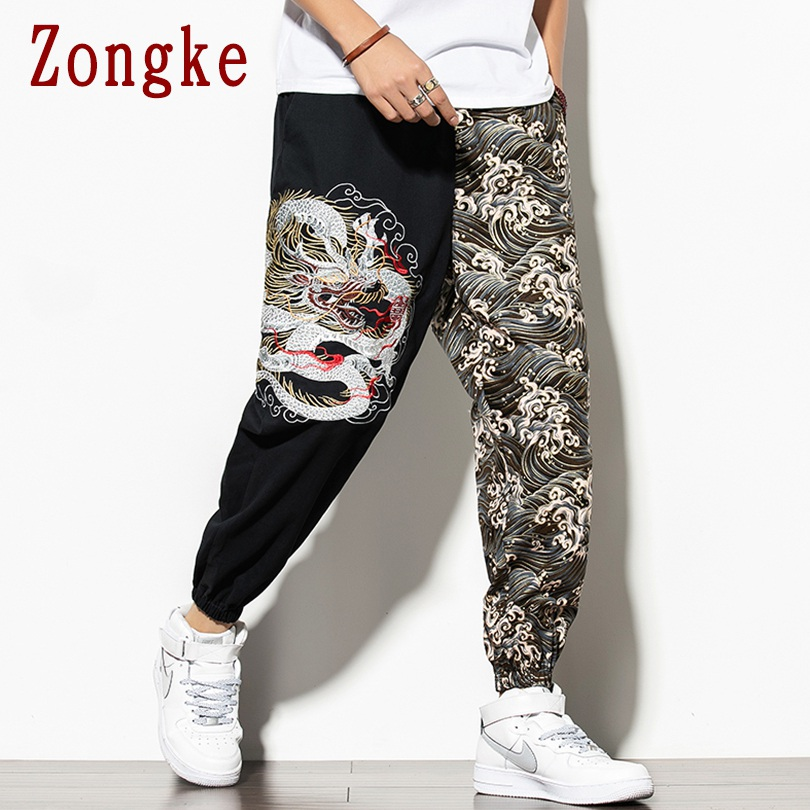 Zongke 2019 Autumn New Dragon Embroidery Casual Pants Men Casual Trousers Male Sweatpants Joggers Men Pants Trousers M-5XL