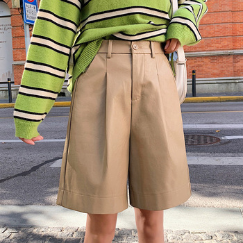 S-3XL Fashion PU Leather Shorts Women's Autumn Winter Bermuda Elastic Waist Loose Five Points Leather Trouser Plus Size Shorts 4