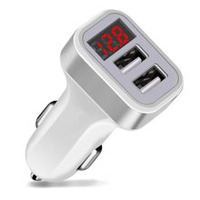 USB Car-Charger with LED Screen Smart Auto Car Charger Adapter Charging for iPhone 6 7 8 Samsung Xiaomi Car Mobile Phone charger(China)