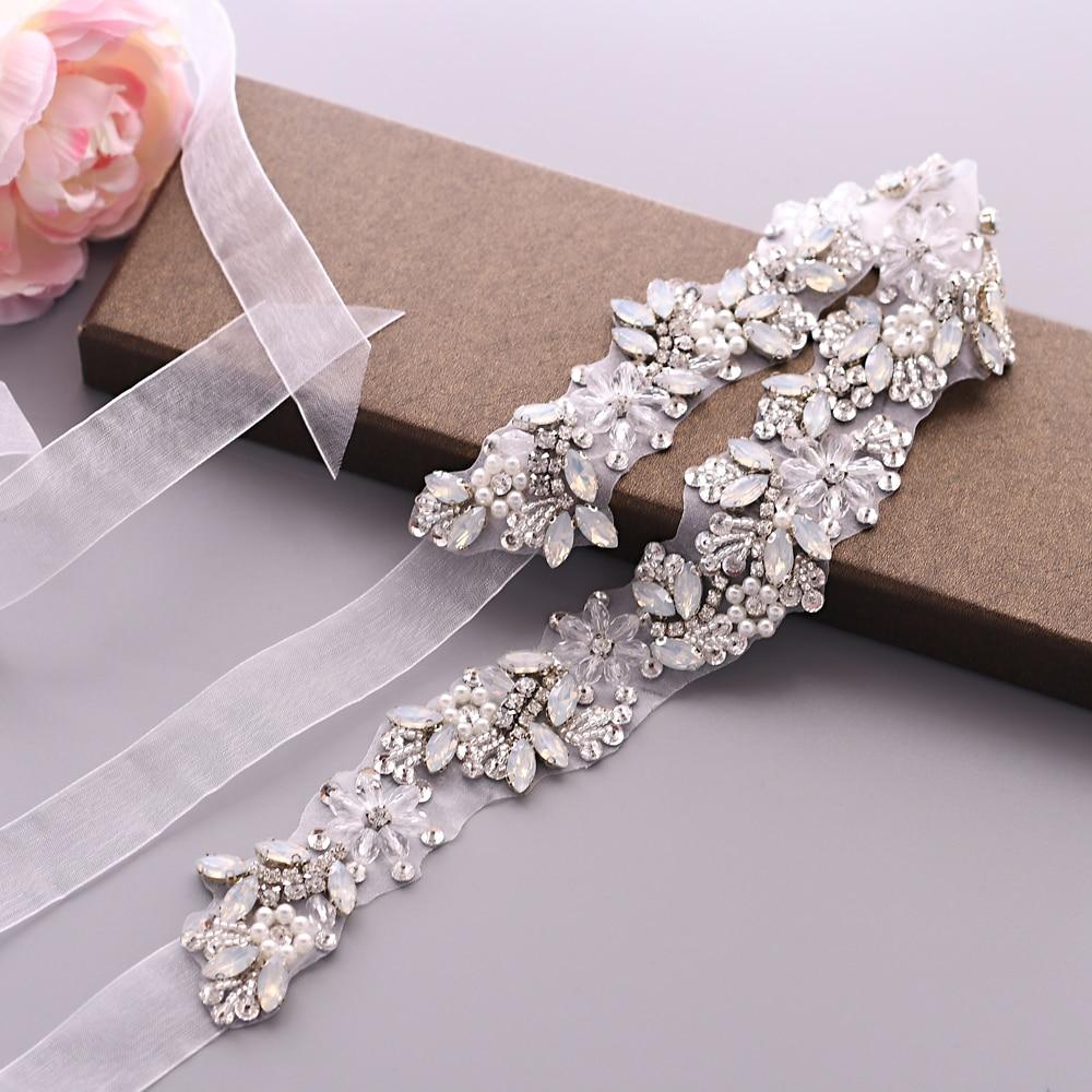 TRiXY S434 Elegant Rhinestones Belt Pearls Bridal Belt Crystal Pearl Ribbon Wedding Belt Sash Bridal Bridesmaids Dress Accessory