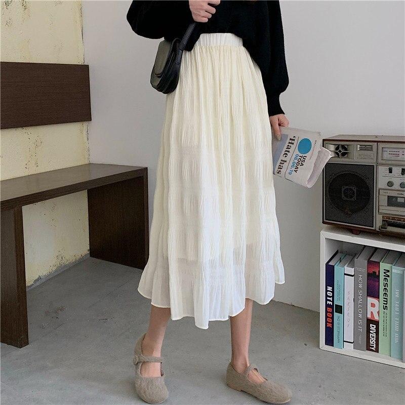 Alien Kitty 2020 Elegance Pleated Retro High Waist Solid Elastic-Waist A-Line High Street Office Lady All-Match Women Skirts